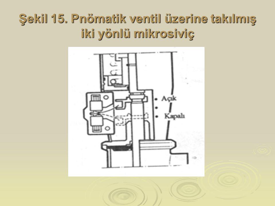 Şekil 15. Pnömatik ventil üzerine takılmış iki yönlü mikrosiviç
