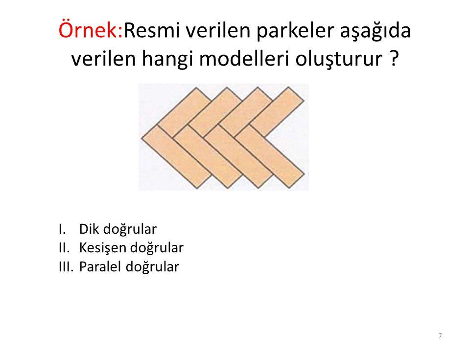 Örnek:Resmi verilen parkeler aşağıda verilen hangi modelleri oluşturur