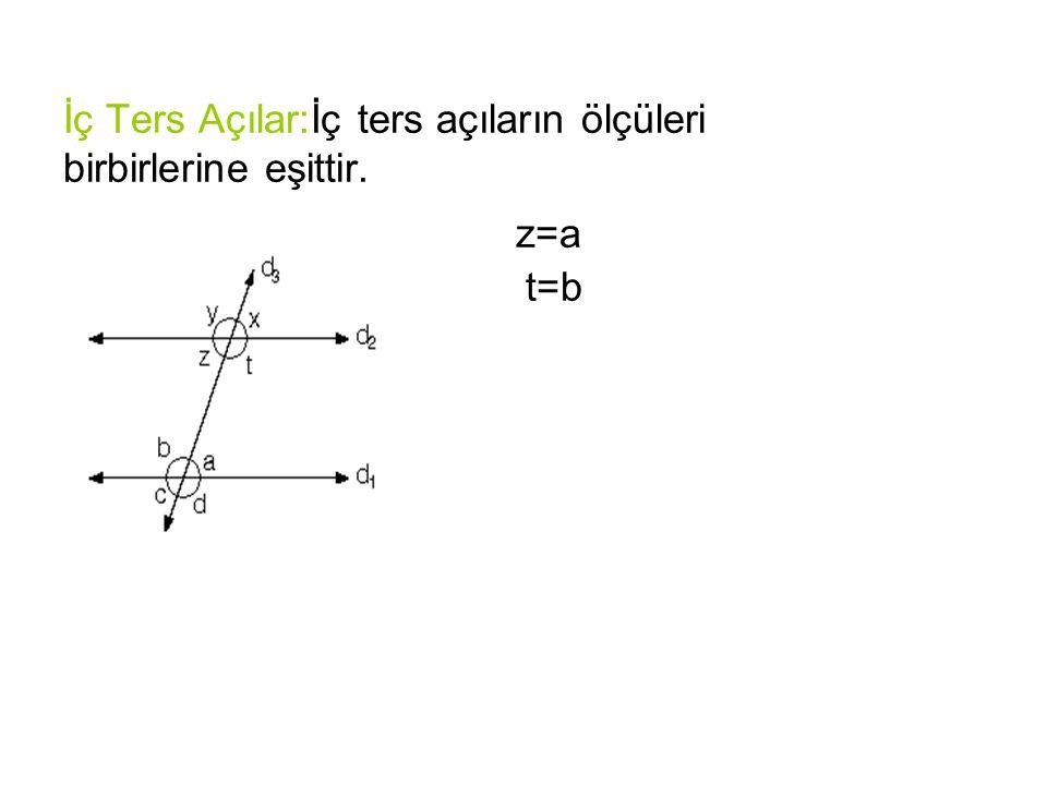 İç Ters Açılar:İç ters açıların ölçüleri birbirlerine eşittir. z=a t=b