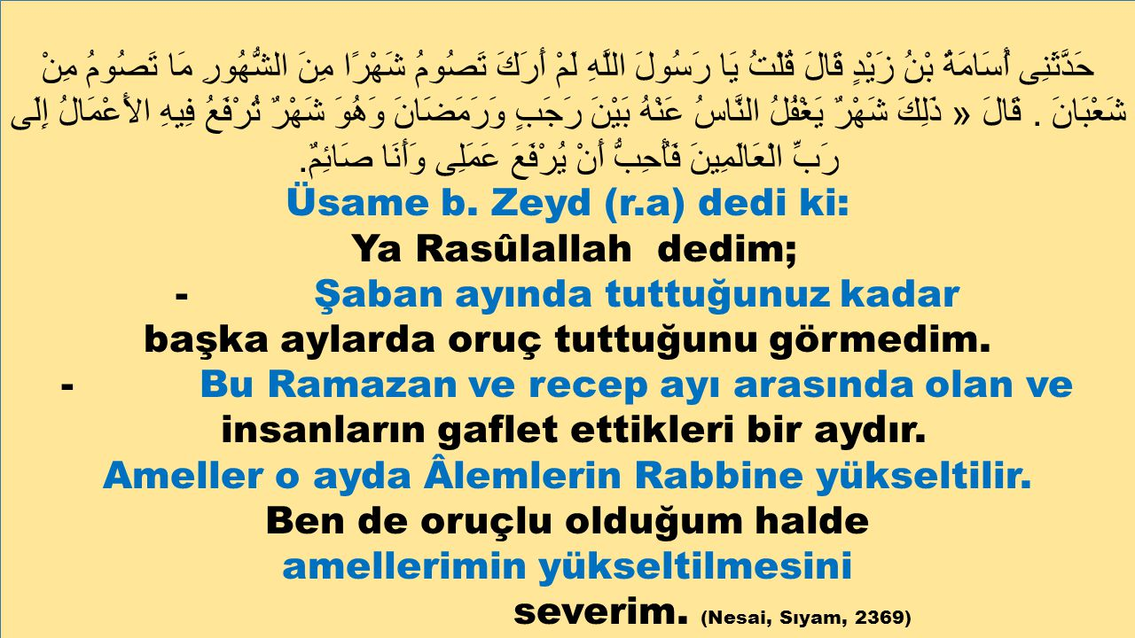 Üsame b. Zeyd (r.a) dedi ki: Ya Rasûlallah dedim;