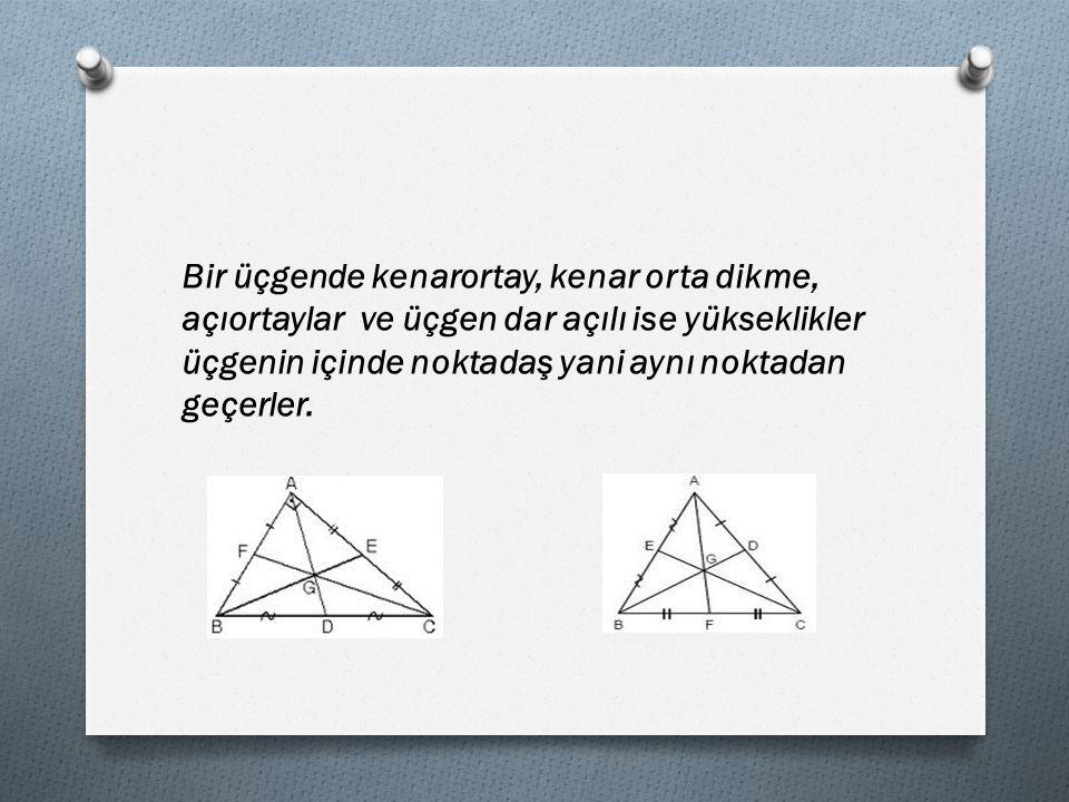 Bir üçgende kenarortay, kenar orta dikme, açıortaylar ve üçgen dar açılı ise yükseklikler üçgenin içinde noktadaş yani aynı noktadan geçerler.