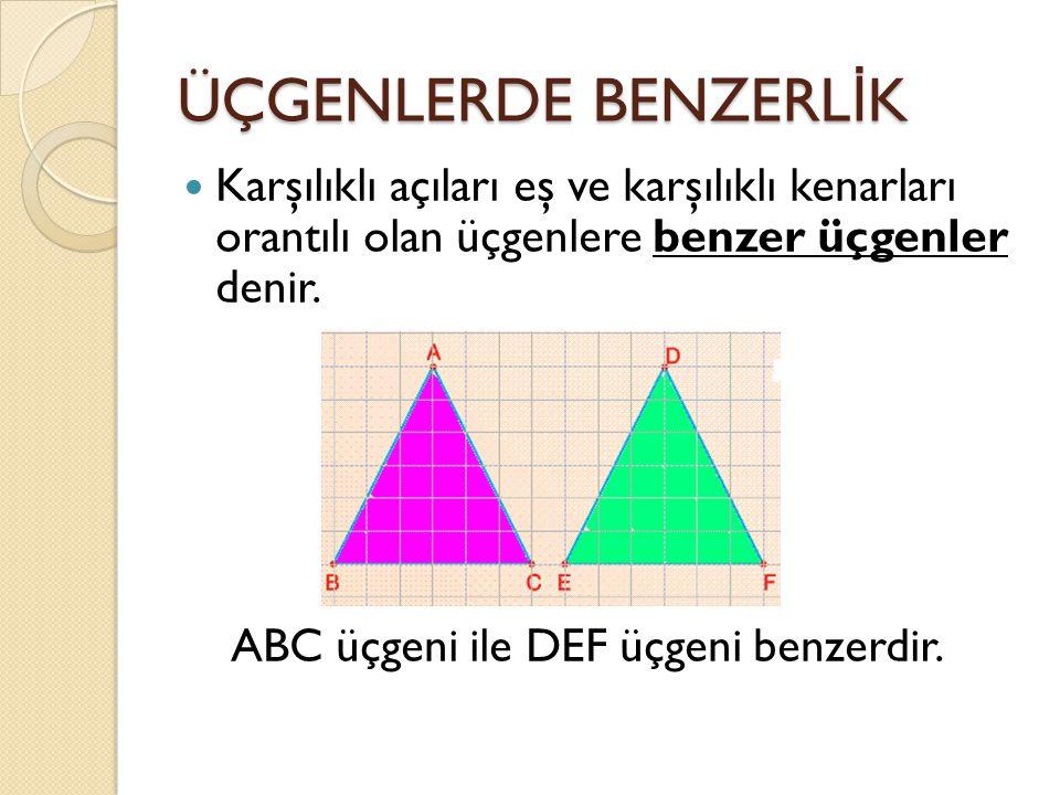 ÜÇGENLERDE BENZERLİK Karşılıklı açıları eş ve karşılıklı kenarları orantılı olan üçgenlere benzer üçgenler denir.