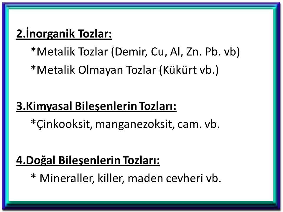 2. İnorganik Tozlar:. Metalik Tozlar (Demir, Cu, Al, Zn. Pb. vb)