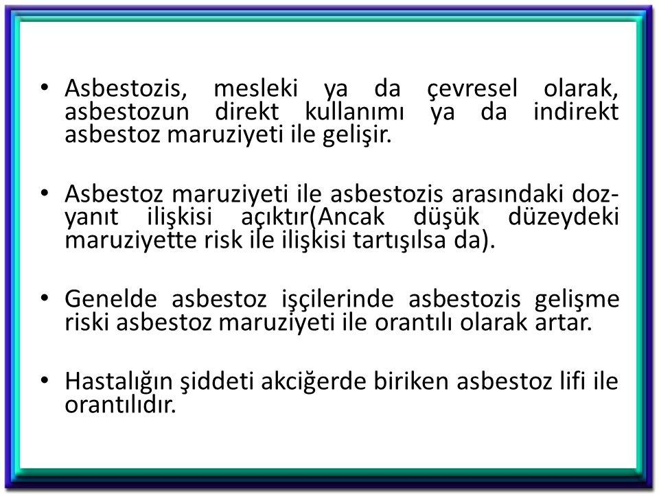 Asbestozis, mesleki ya da çevresel olarak, asbestozun direkt kullanımı ya da indirekt asbestoz maruziyeti ile gelişir.