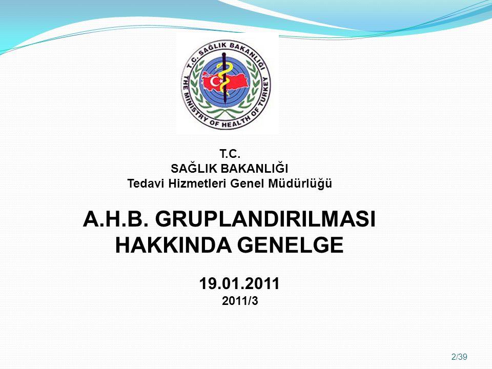 A.H.B. GRUPLANDIRILMASI HAKKINDA GENELGE