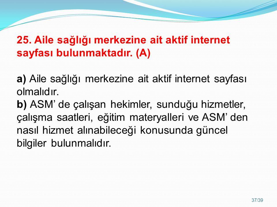 25. Aile sağlığı merkezine ait aktif internet sayfası bulunmaktadır