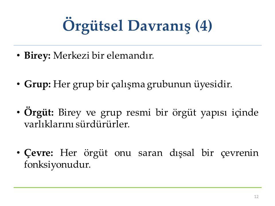 Örgütsel Davranış (4) Birey: Merkezi bir elemandır.