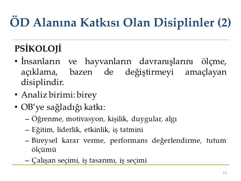 ÖD Alanına Katkısı Olan Disiplinler (2)