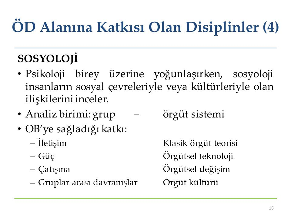 ÖD Alanına Katkısı Olan Disiplinler (4)