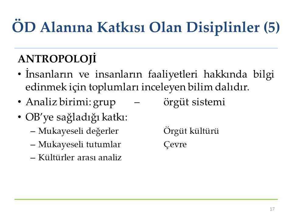 ÖD Alanına Katkısı Olan Disiplinler (5)
