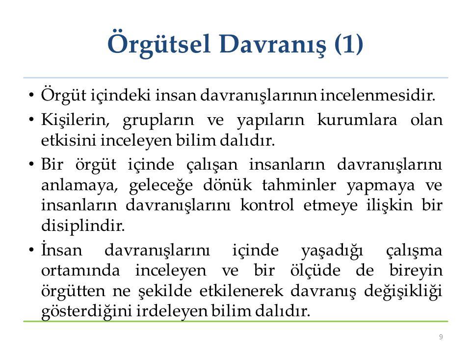 Örgütsel Davranış (1) Örgüt içindeki insan davranışlarının incelenmesidir.