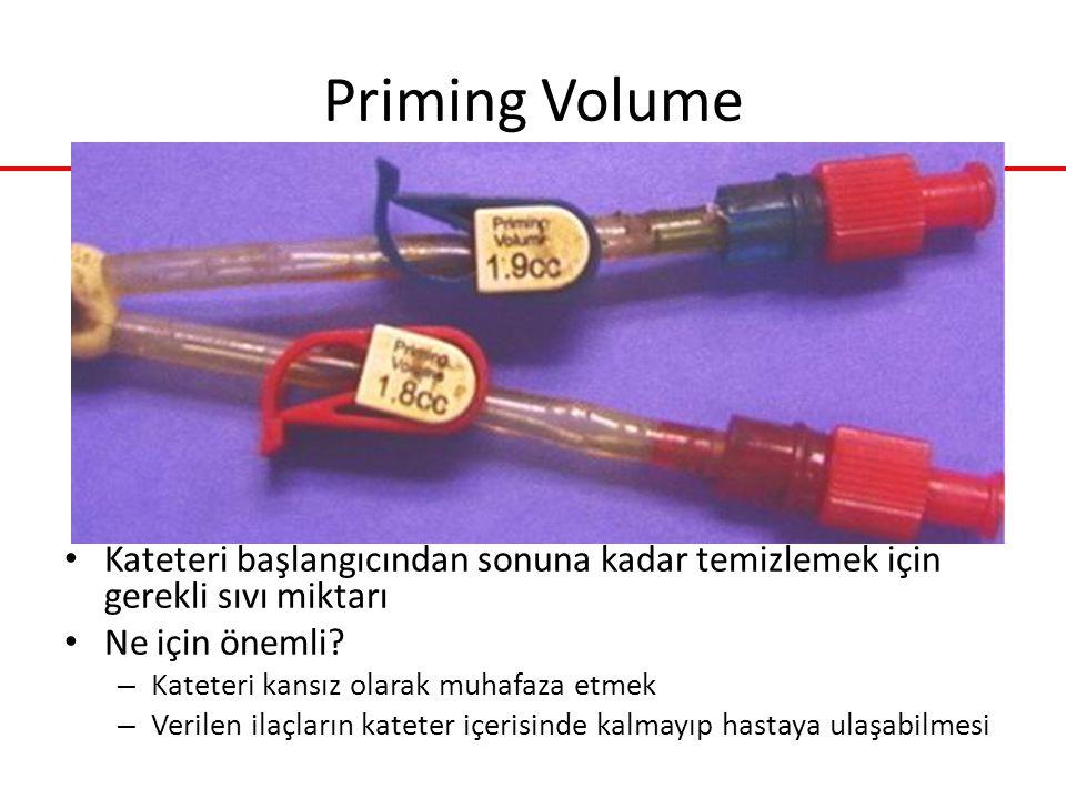 Priming Volume Kateteri başlangıcından sonuna kadar temizlemek için gerekli sıvı miktarı. Ne için önemli