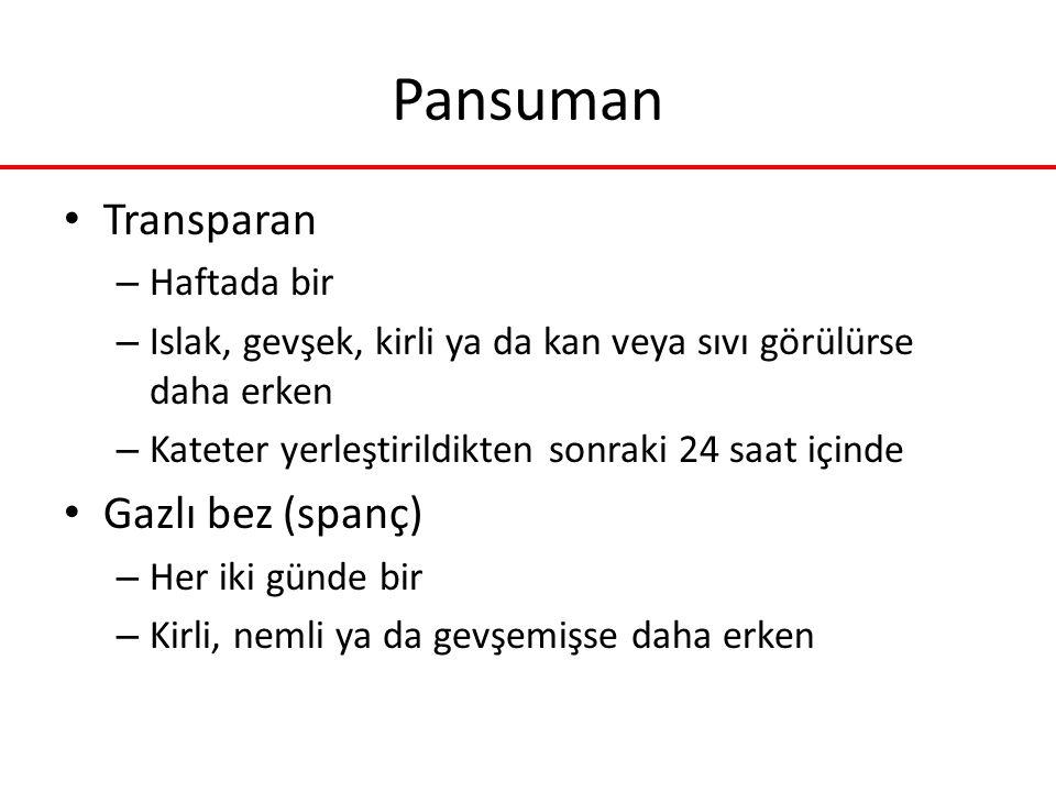 Pansuman Transparan Gazlı bez (spanç) Haftada bir