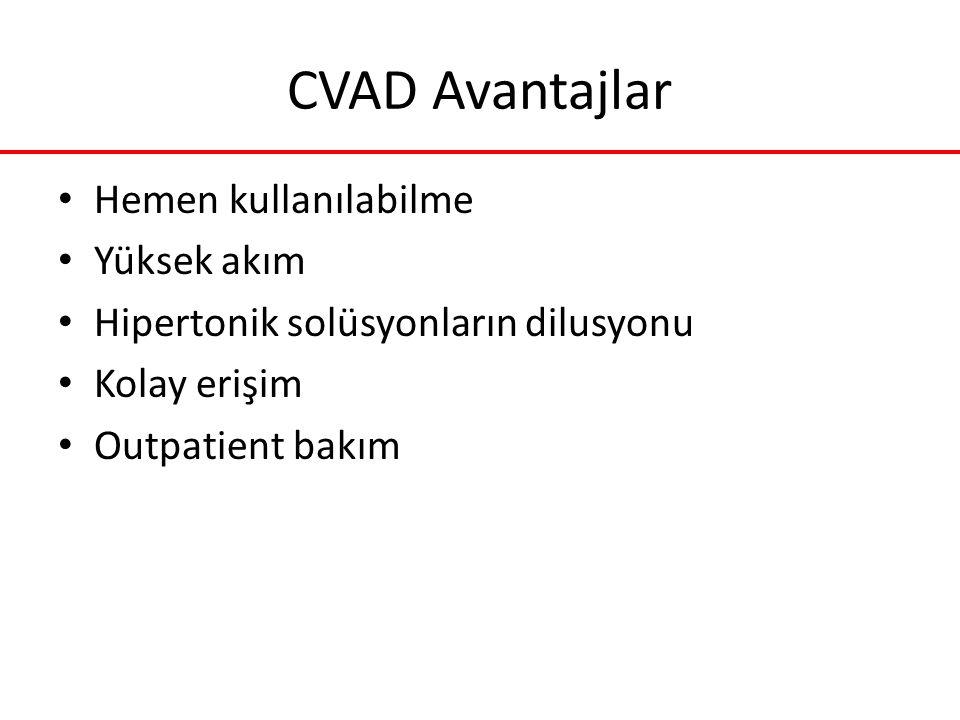CVAD Avantajlar Hemen kullanılabilme Yüksek akım
