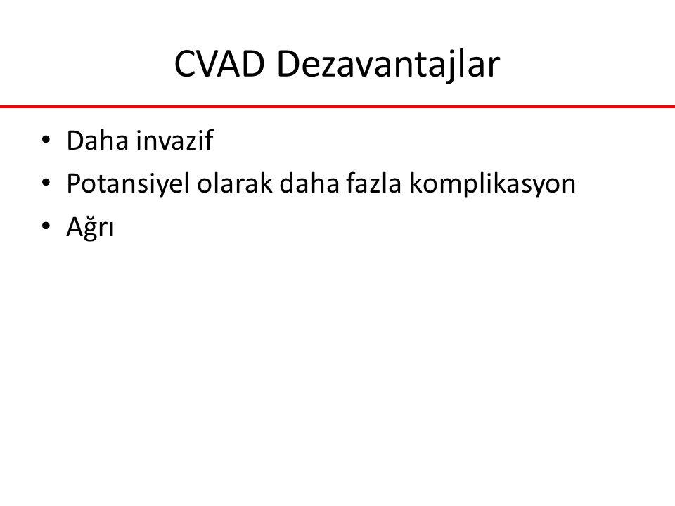 CVAD Dezavantajlar Daha invazif