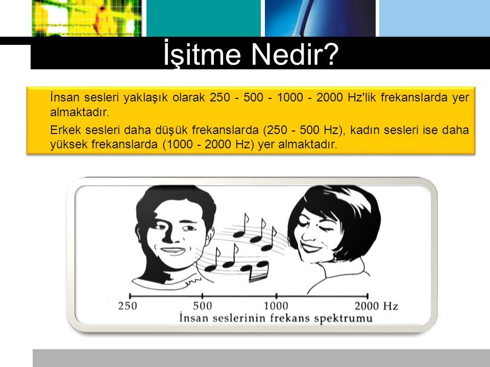 İşitme Nedir İnsan sesleri yaklaşık olarak 250 - 500 - 1000 - 2000 Hz lik frekanslarda yer almaktadır.