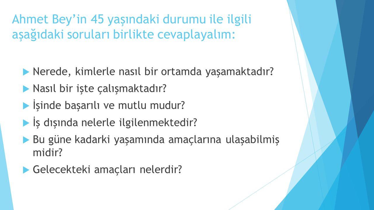 Ahmet Bey'in 45 yaşındaki durumu ile ilgili aşağıdaki soruları birlikte cevaplayalım: