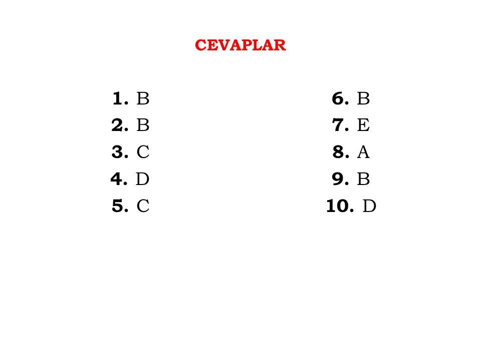 CEVAPLAR 1. B 2. B 3. C 4. D 5. C 6. B 7. E 8. A 9. B 10. D