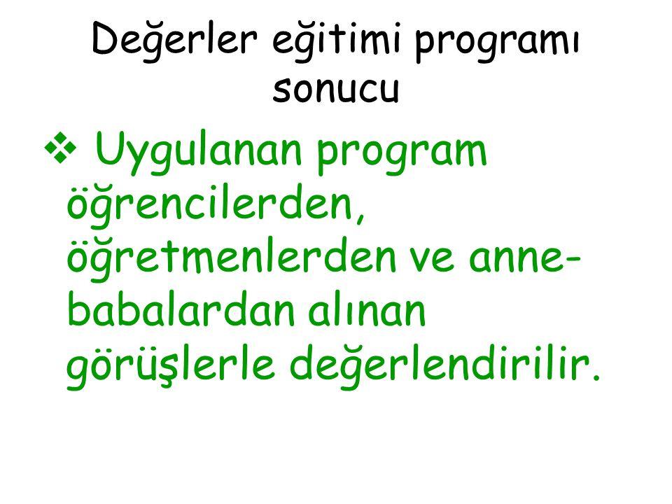 Değerler eğitimi programı sonucu