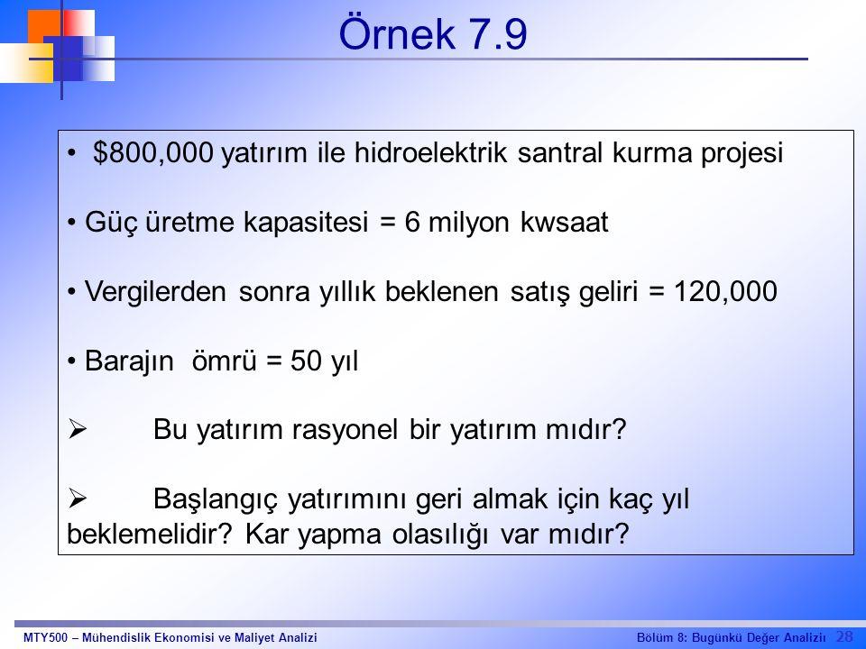 Örnek 7.9 $800,000 yatırım ile hidroelektrik santral kurma projesi