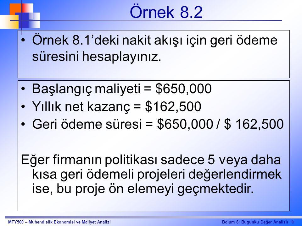 Örnek 8.2 Örnek 8.1'deki nakit akışı için geri ödeme süresini hesaplayınız. Başlangıç maliyeti = $650,000.