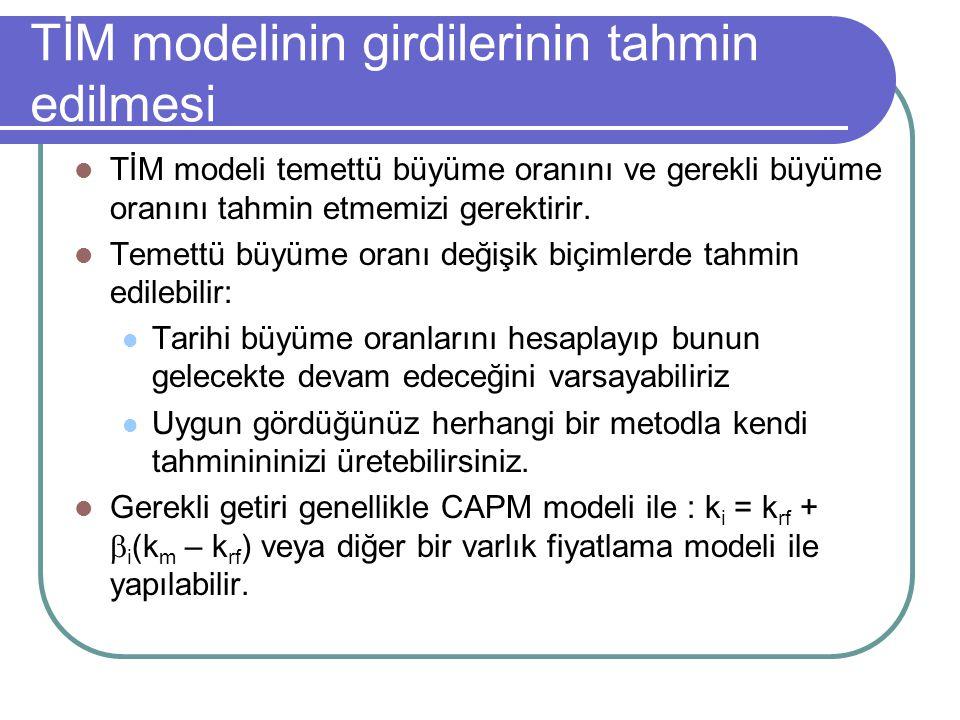TİM modelinin girdilerinin tahmin edilmesi