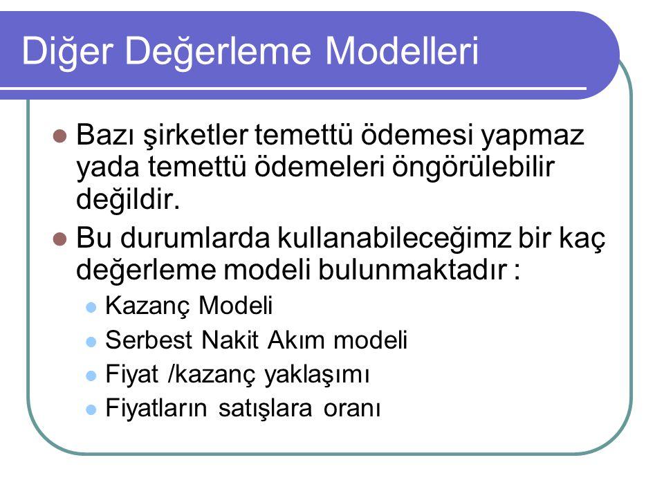 Diğer Değerleme Modelleri