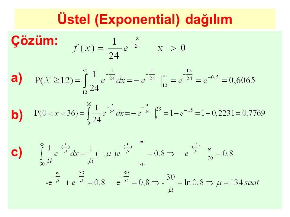 Üstel (Exponential) dağılım