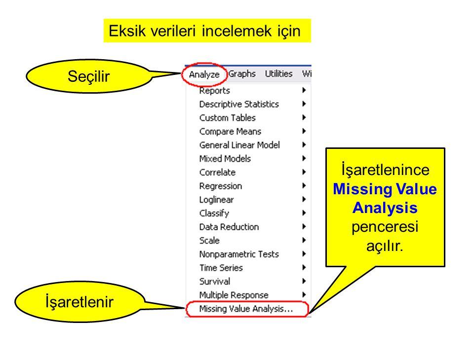 İşaretlenince Missing Value Analysis penceresi açılır.