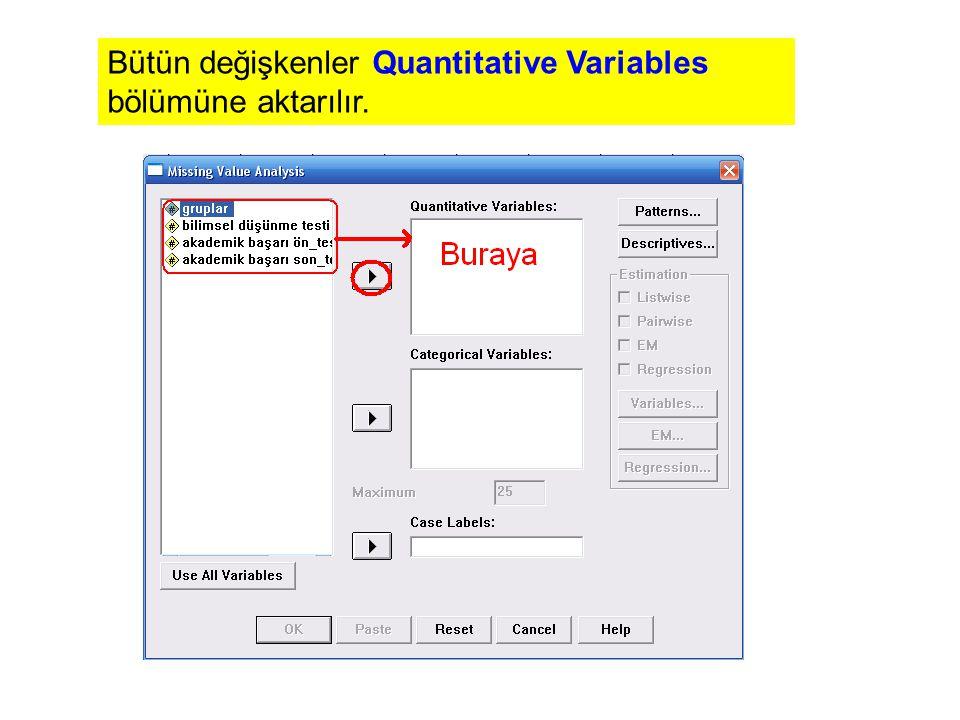 Bütün değişkenler Quantitative Variables bölümüne aktarılır.
