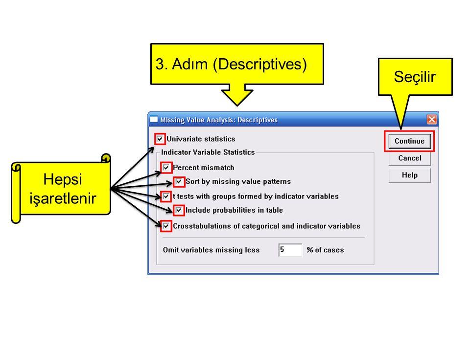 3. Adım (Descriptives) Seçilir Hepsi işaretlenir