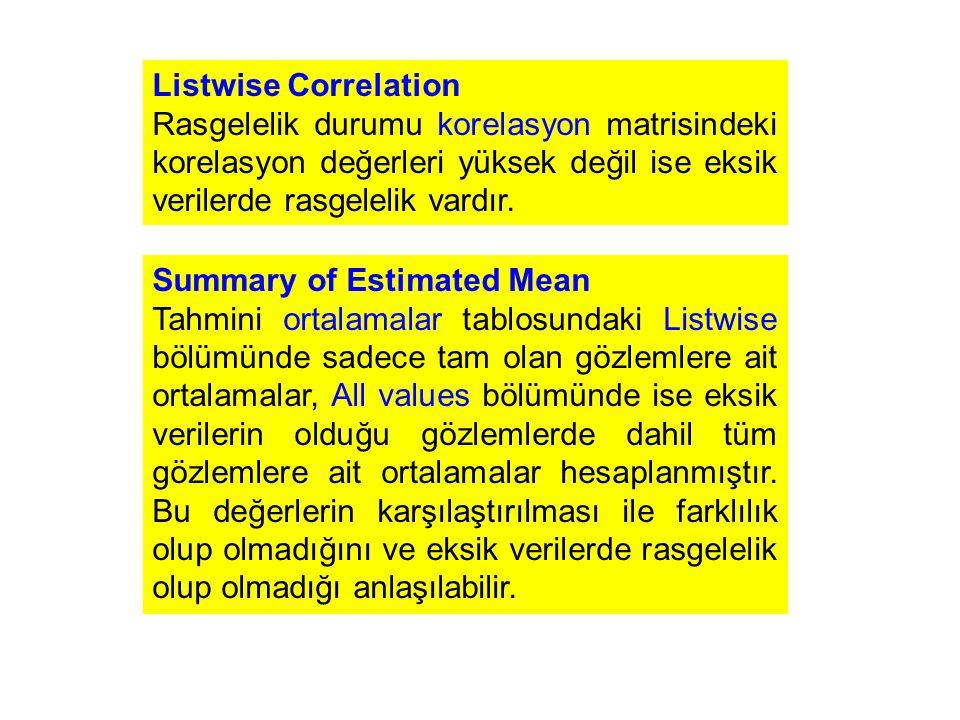 Listwise Correlation Rasgelelik durumu korelasyon matrisindeki korelasyon değerleri yüksek değil ise eksik verilerde rasgelelik vardır.