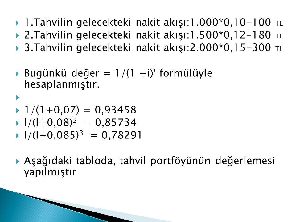 1.Tahvilin gelecekteki nakit akışı:1.000*0,10-100 TL
