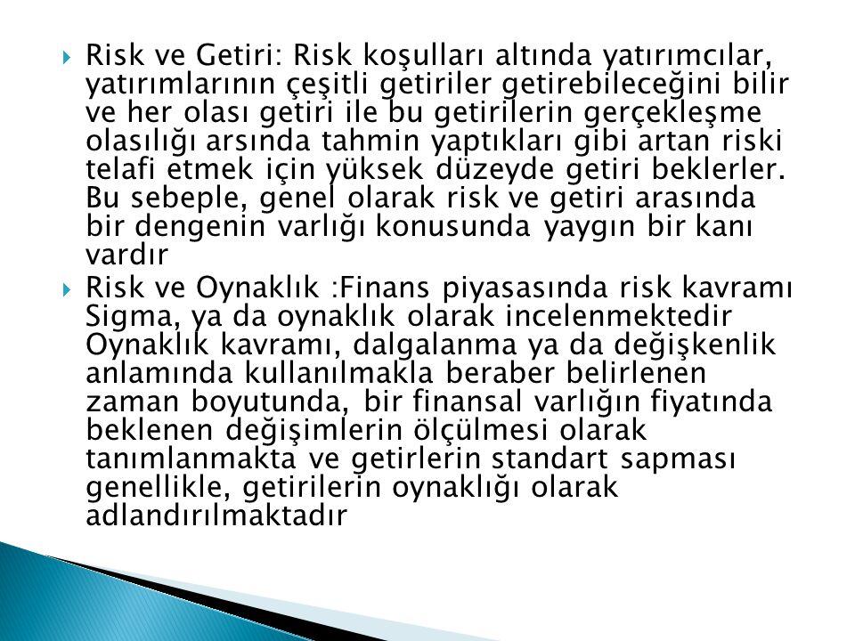 Risk ve Getiri: Risk koşulları altında yatırımcılar, yatırımlarının çeşitli getiriler getirebileceğini bilir ve her olası getiri ile bu getirilerin gerçekleşme olasılığı arsında tahmin yaptıkları gibi artan riski telafi etmek için yüksek düzeyde getiri beklerler. Bu sebeple, genel olarak risk ve getiri arasında bir dengenin varlığı konusunda yaygın bir kanı vardır