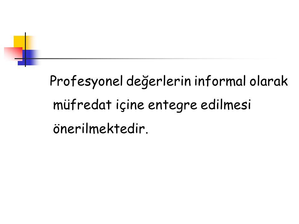 Profesyonel değerlerin informal olarak müfredat içine entegre edilmesi önerilmektedir.