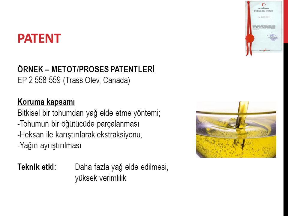 PATENT ÖRNEK – METOT/PROSES PATENTLERİ
