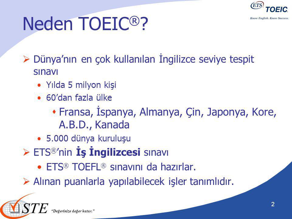 Neden TOEIC® Dünya'nın en çok kullanılan İngilizce seviye tespit sınavı. Yılda 5 milyon kişi. 60'dan fazla ülke.