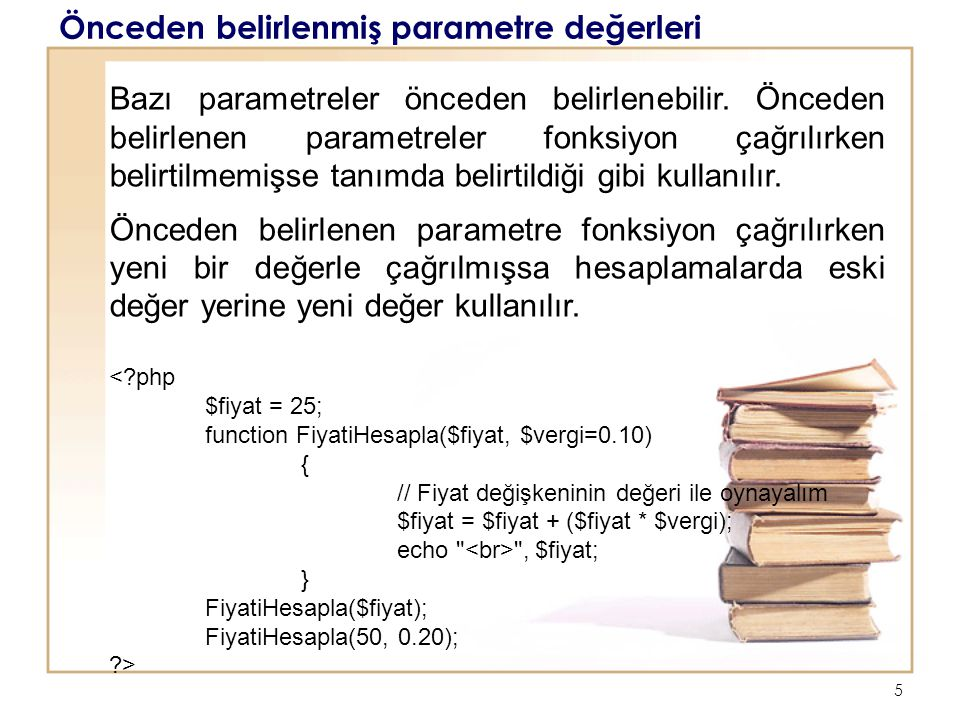 Önceden belirlenmiş parametre değerleri