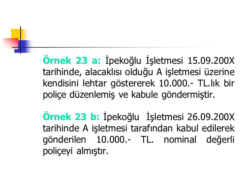 Örnek 23 a: İpekoğlu İşletmesi 15. 09