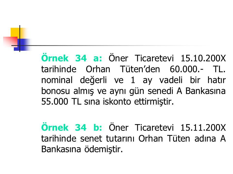 Örnek 34 a: Öner Ticaretevi 15. 10. 200X tarihinde Orhan Tüten'den 60