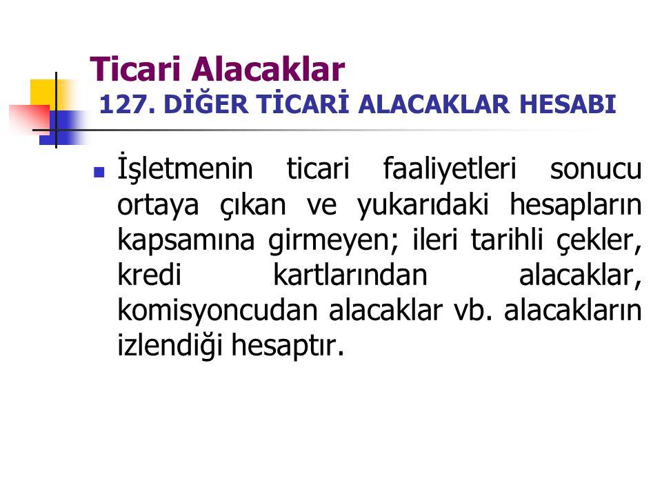 Ticari Alacaklar 127. DİĞER TİCARİ ALACAKLAR HESABI