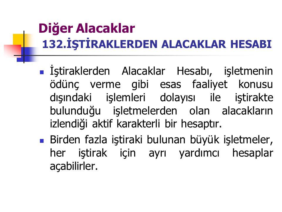 Diğer Alacaklar 132.İŞTİRAKLERDEN ALACAKLAR HESABI