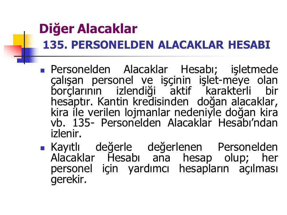 Diğer Alacaklar 135. PERSONELDEN ALACAKLAR HESABI