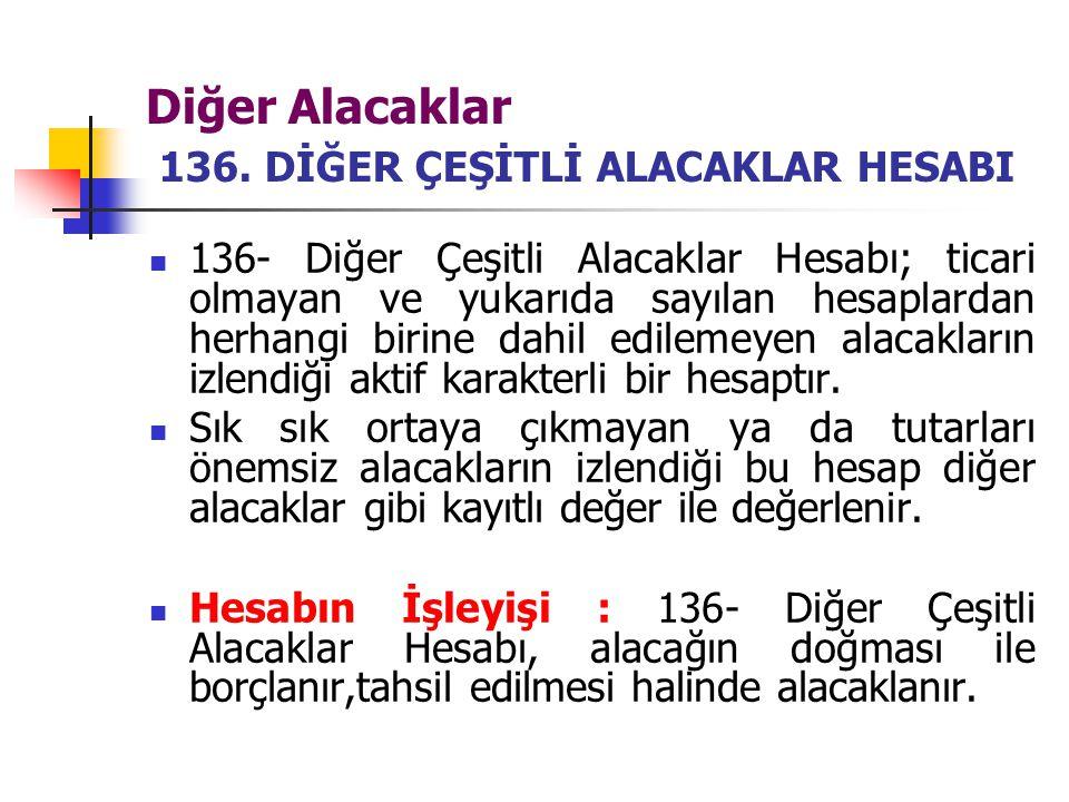 Diğer Alacaklar 136. DİĞER ÇEŞİTLİ ALACAKLAR HESABI