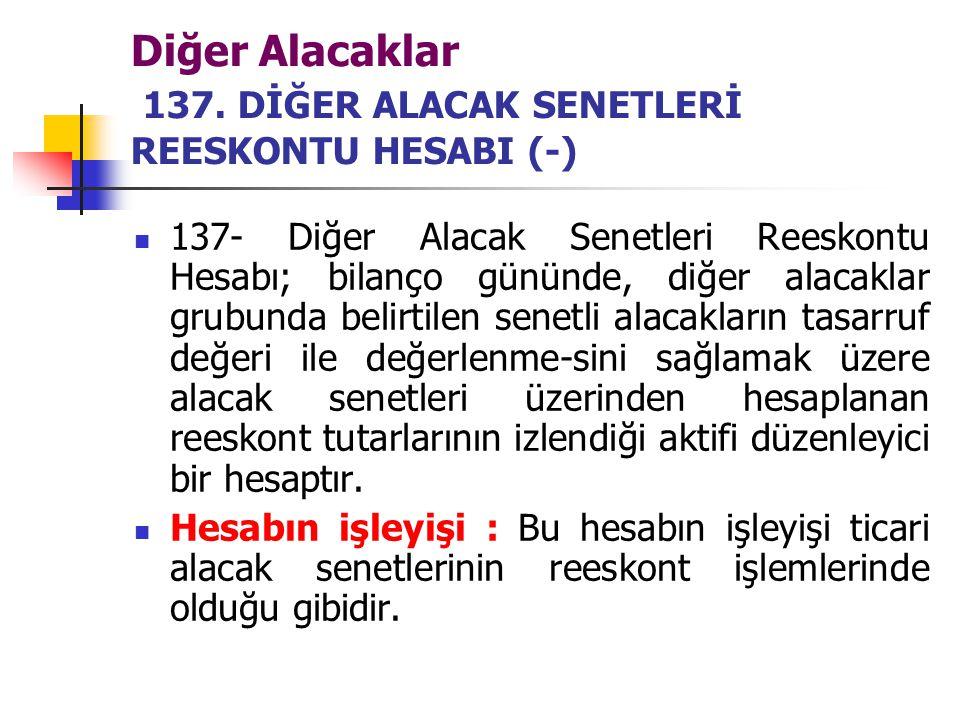 Diğer Alacaklar 137. DİĞER ALACAK SENETLERİ REESKONTU HESABI (-)