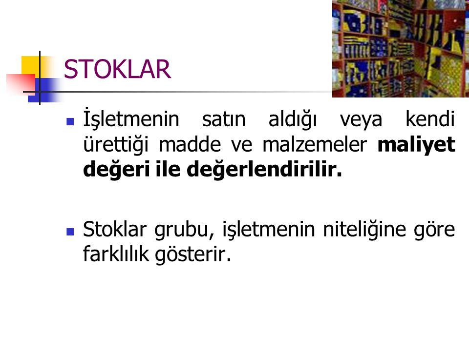 STOKLAR İşletmenin satın aldığı veya kendi ürettiği madde ve malzemeler maliyet değeri ile değerlendirilir.