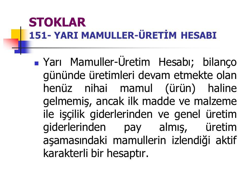 STOKLAR 151- YARI MAMULLER-ÜRETİM HESABI
