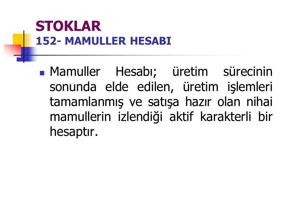 STOKLAR 152- MAMULLER HESABI