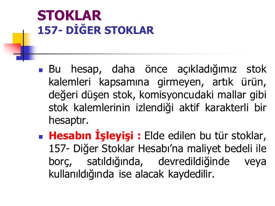 STOKLAR 157- DİĞER STOKLAR
