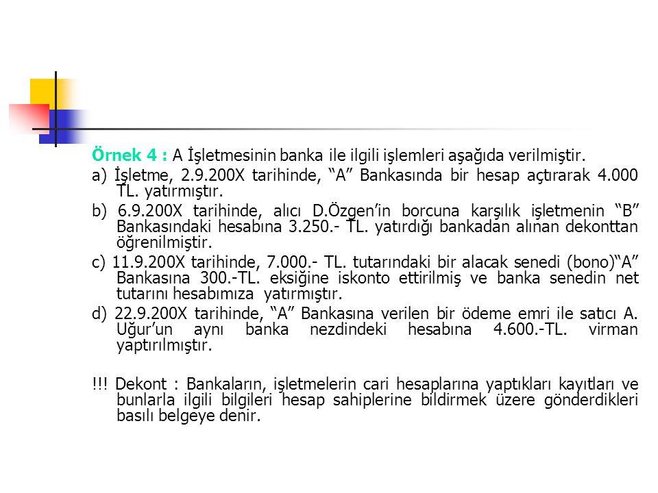 Örnek 4 : A İşletmesinin banka ile ilgili işlemleri aşağıda verilmiştir.
